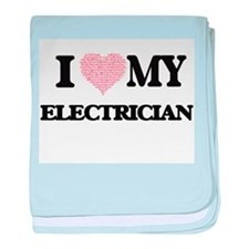 I love my Electrician (Heart Made fro baby blanket