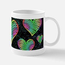 Heart Love Neon Rainbow Colors Mugs