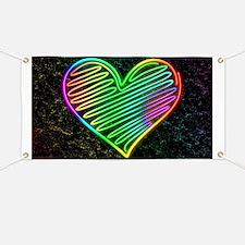 Heart Love Neon Rainbow Colors Banner