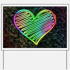 Heart Love Neon Rainbow Colors Yard Sign