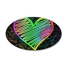 Heart Love Neon Rainbow Colors Wall Sticker