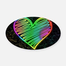 Heart Love Neon Rainbow Colors Oval Car Magnet