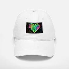 Heart Love Neon Rainbow Colors Baseball Baseball Cap