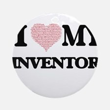 I love my Inventor (Heart Made from Round Ornament