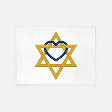 Star Of David Heart 5'x7'Area Rug