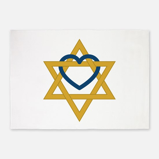 Star Of David Heart 5'x7'Area Rug