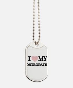 I love my Osteopath (Heart Made from Word Dog Tags