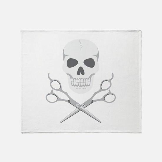 Skull Scissors Throw Blanket