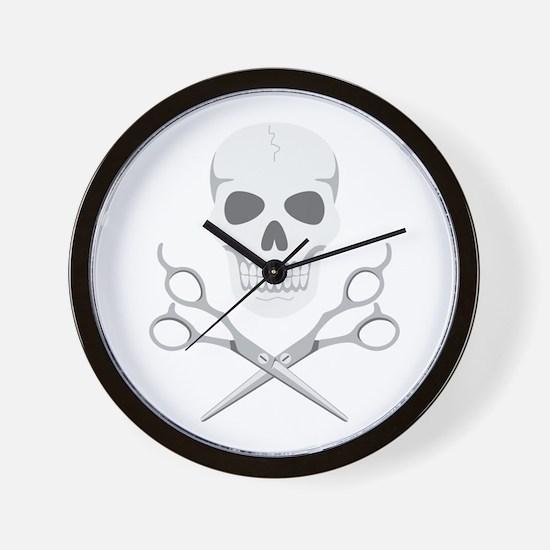 Skull Scissors Wall Clock
