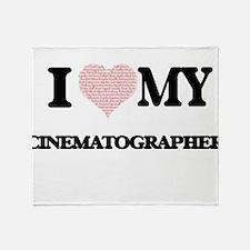 I love my Cinematographer (Heart Mad Throw Blanket