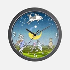 Blue Cow Jumped Over The Moon Wall Clock