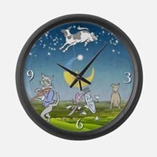 Blue Cow Jumped Over The Moon Large Wall Clock