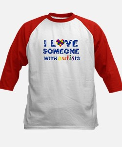 I love someone with Autism Kids Baseball Jersey