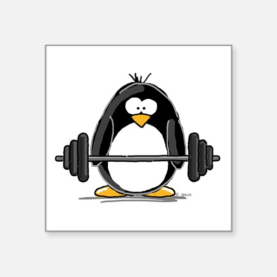 "Cute Weight lifting penguin Square Sticker 3"" x 3"""