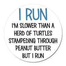I RUN Round Car Magnet