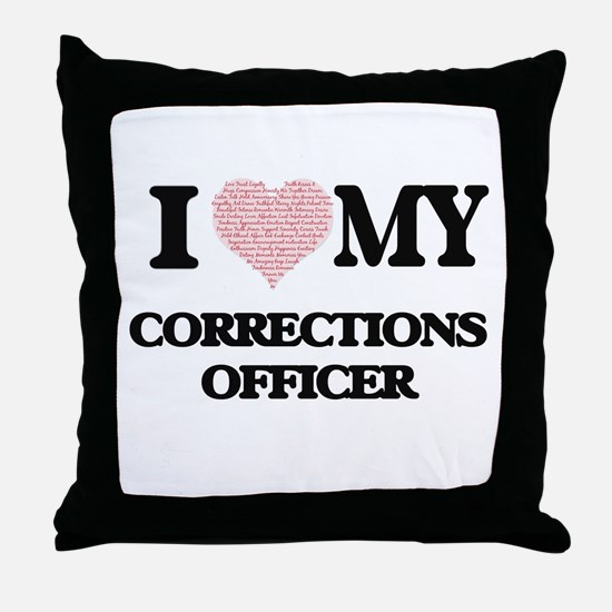 I love my Corrections Officer (Heart Throw Pillow