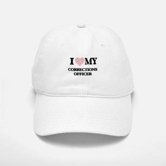 I love my Corrections Officer (Heart Made from Baseball Baseball Cap