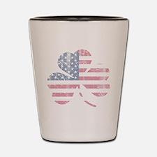 Irish American Flag Shamrock Shot Glass