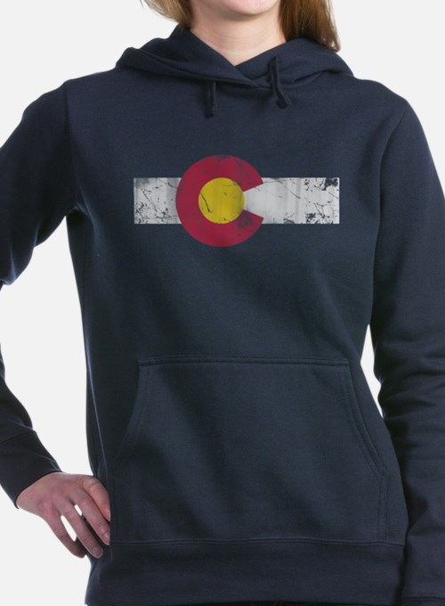 Vintage Colorado State Flag Fade Women's Hooded Sw