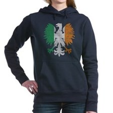 Irish Flag Polish Eagle Women's Hooded Sweatshirt