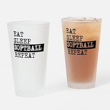 Eat Sleep Softball Repeat Drinking Glass