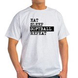 Eat sleep softball Mens Light T-shirts