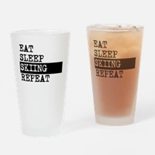 Eat Sleep Skiing Repeat Drinking Glass