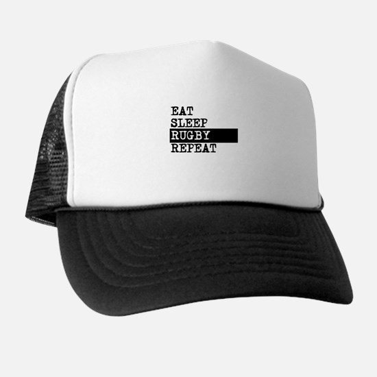 Eat Sleep Rugby Repeat Trucker Hat