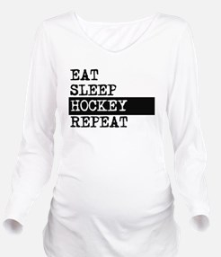 Eat Sleep Hockey Repeat Long Sleeve Maternity T-Sh