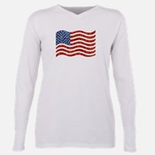 sequin american flag Plus Size Long Sleeve Tee