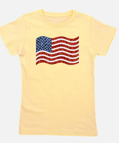 sequin american flag Girl's Tee