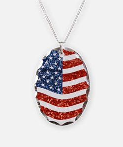 sequin american flag Necklace
