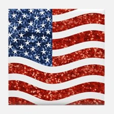 sequin american flag Tile Coaster