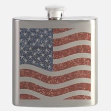 sequin american flag Flask