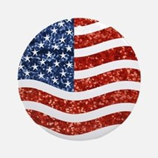 sequin american flag Round Ornament