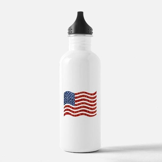 sequin american flag Water Bottle