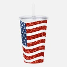sequin american flag Acrylic Double-wall Tumbler