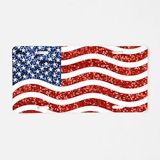 sequin american flag Aluminum License Plate