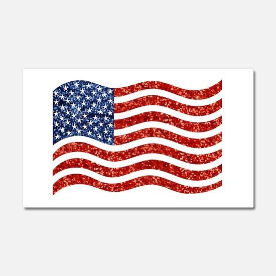 sequin american flag Car Magnet 20 x 12