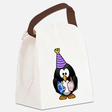 Happy Birthday Penguin Canvas Lunch Bag