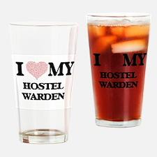 I love my Hostel Warden (Heart Made Drinking Glass