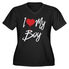 I love my bo Women's Plus Size V-Neck Dark T-Shirt