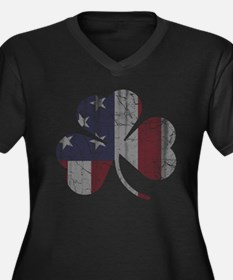 Vintage Irish American Flag Shamrock Plus Size T-S