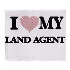 I love my Land Agent (Heart Made fro Throw Blanket