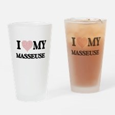 I love my Masseuse (Heart Made from Drinking Glass