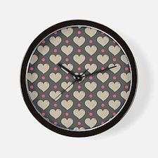 Hearts Pattern Wall Clock