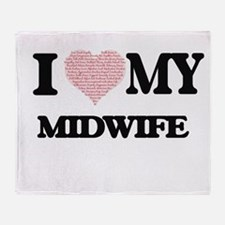 I love my Midwife (Heart Made from W Throw Blanket