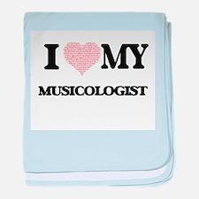 I love my Musicologist (Heart Made fr baby blanket