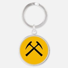 Crossed Rock Hammers Keychains