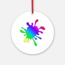 Rainbow Paint Splatter Round Ornament